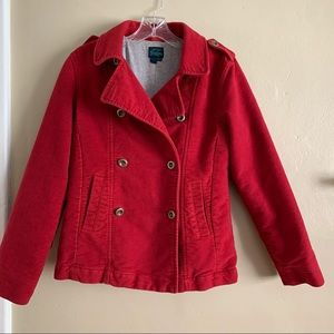 Mini Boden Red Double Breasted Pea Coat, 13-14 Y